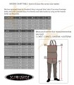 Size chart of Vision waders