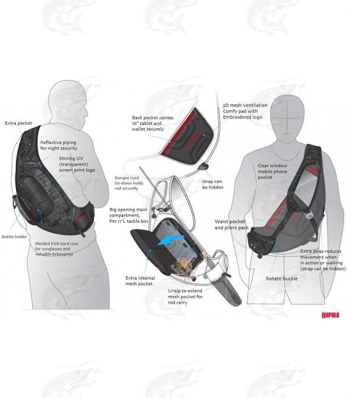 Rapala Urban Classic Sling Shoulder Fishing Bag With Tackle Boxes